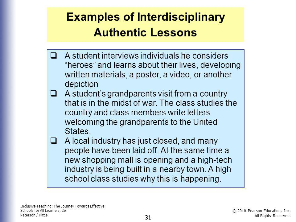 Examples of Interdisciplinary Authentic Lessons