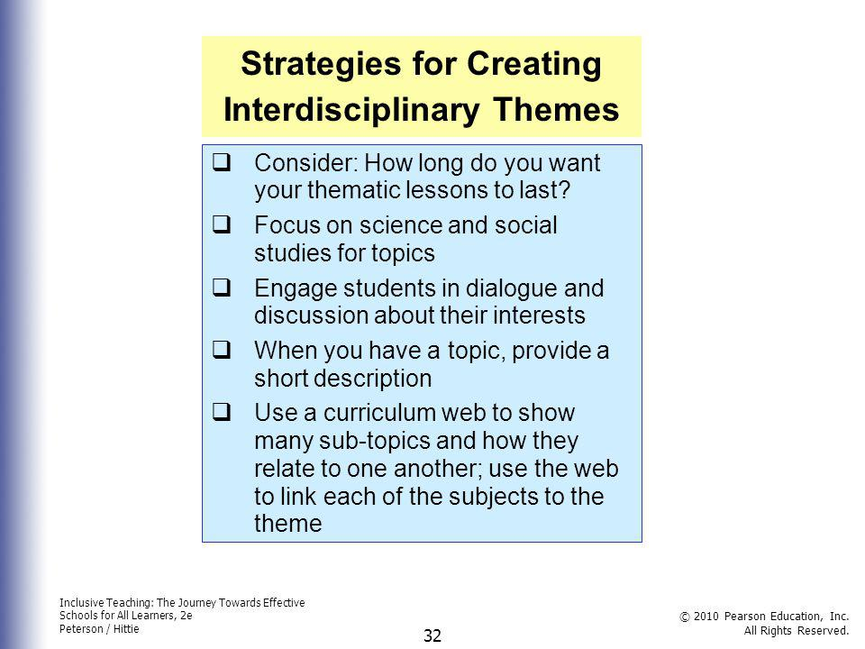 Strategies for Creating Interdisciplinary Themes
