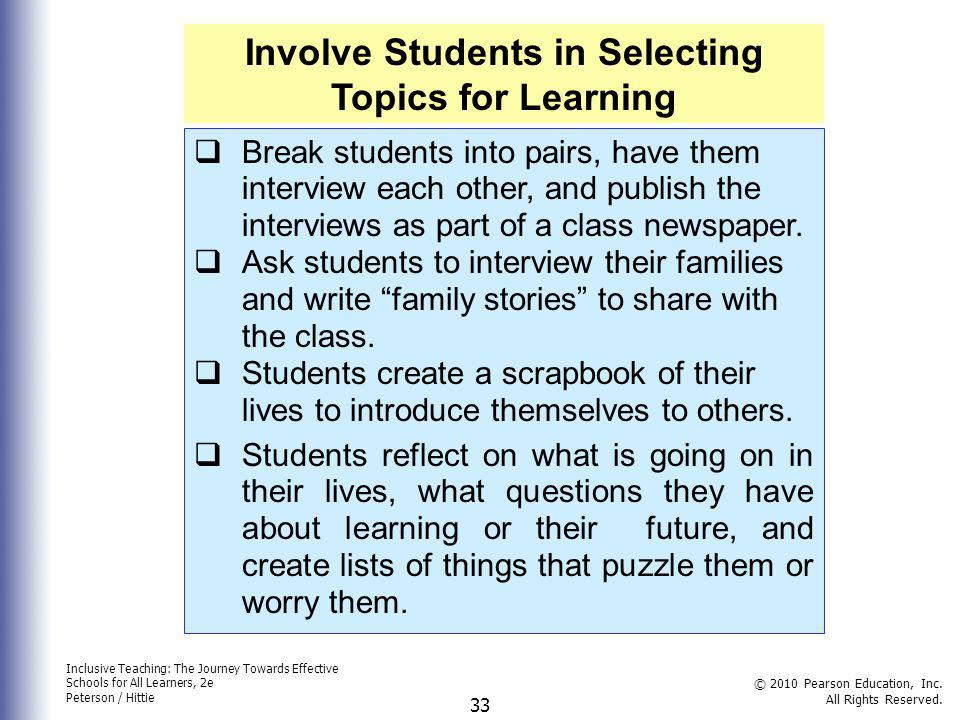Involve Students in Selecting Topics for Learning