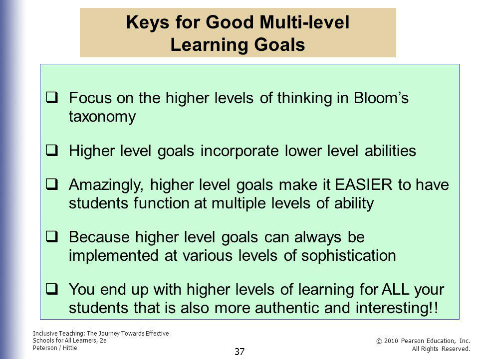Keys for Good Multi-level Learning Goals