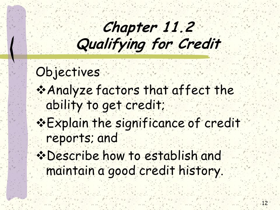Chapter 11.2 Qualifying for Credit