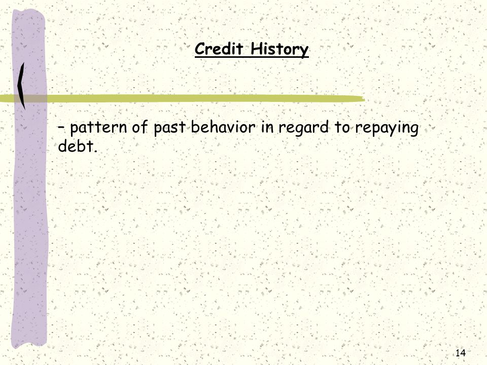 Credit History – pattern of past behavior in regard to repaying debt.