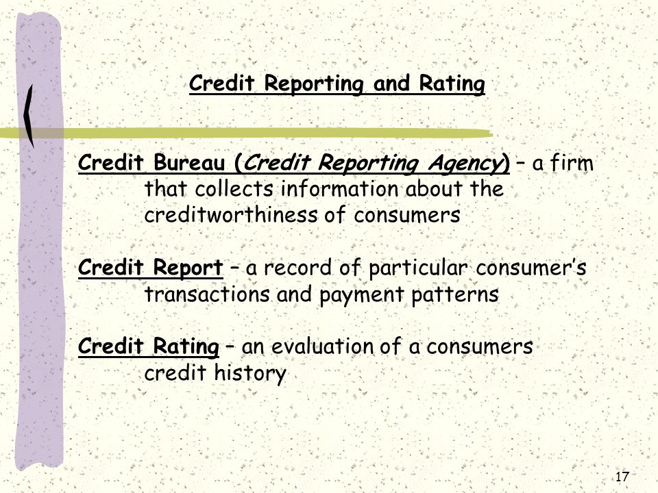 Credit Reporting and Rating