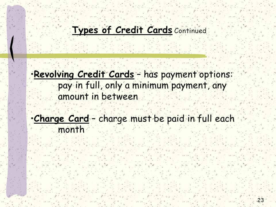 Types of Credit Cards Continued