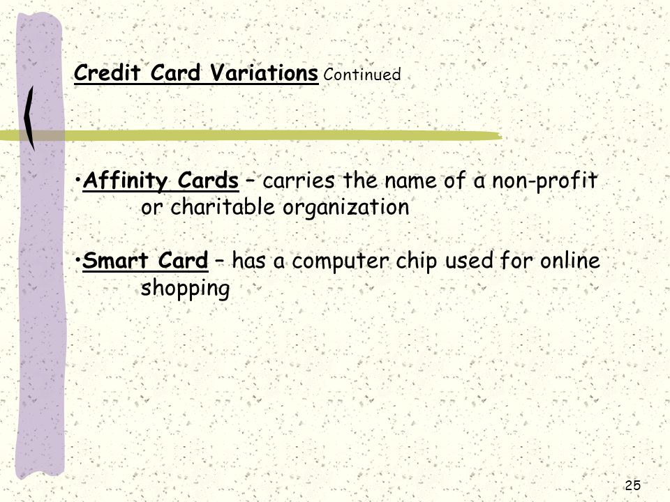 Credit Card Variations Continued