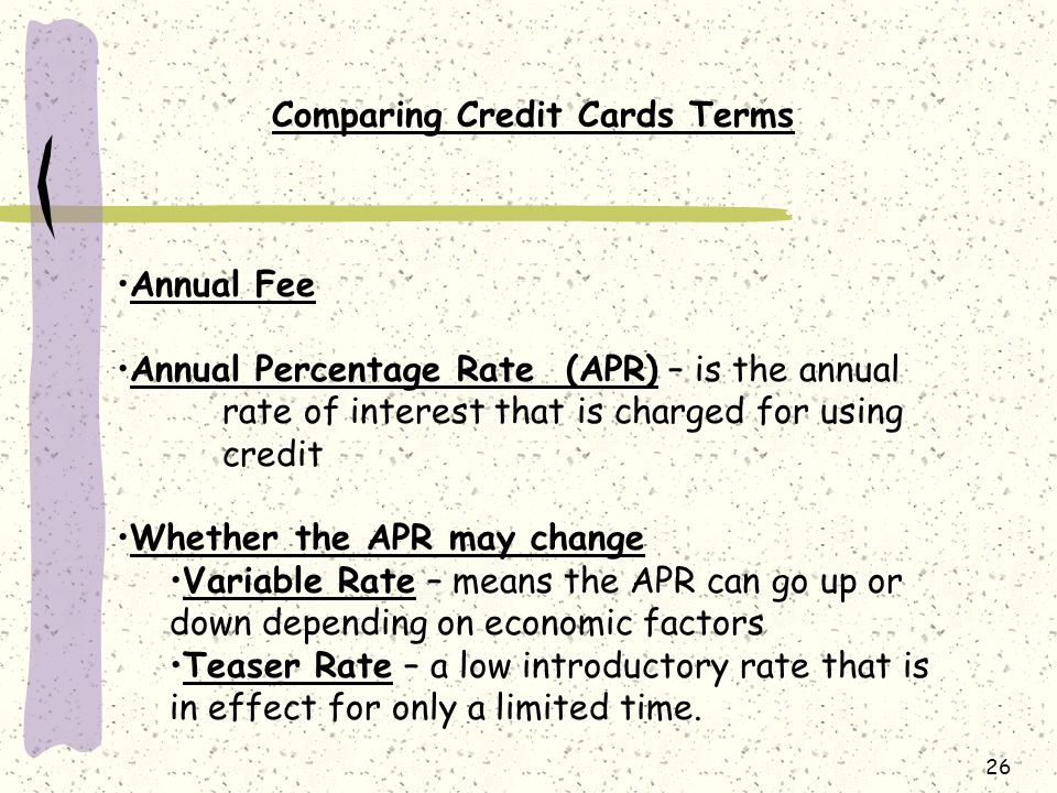Comparing Credit Cards Terms