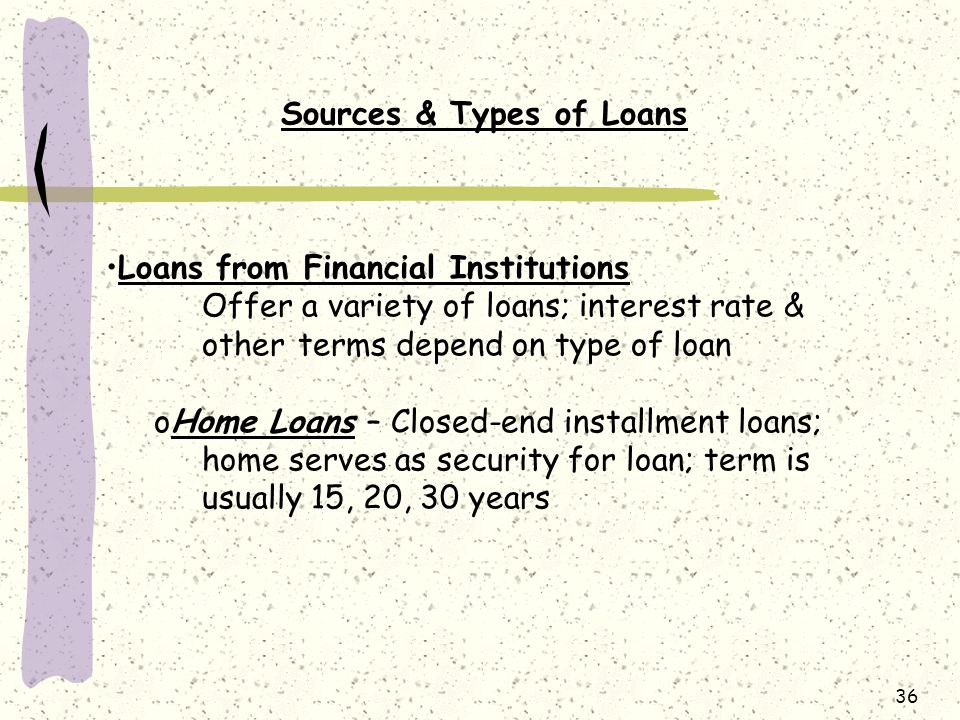 Sources & Types of Loans