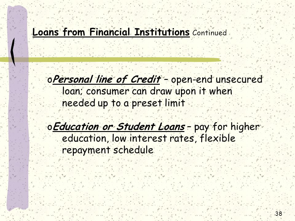 Loans from Financial Institutions Continued