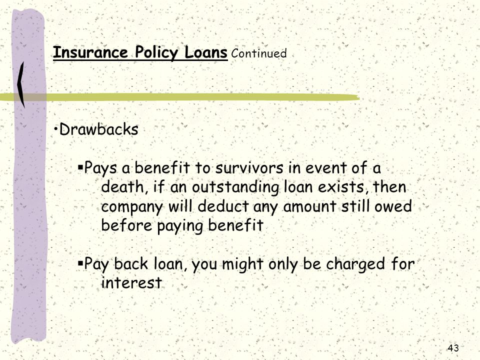 Insurance Policy Loans Continued