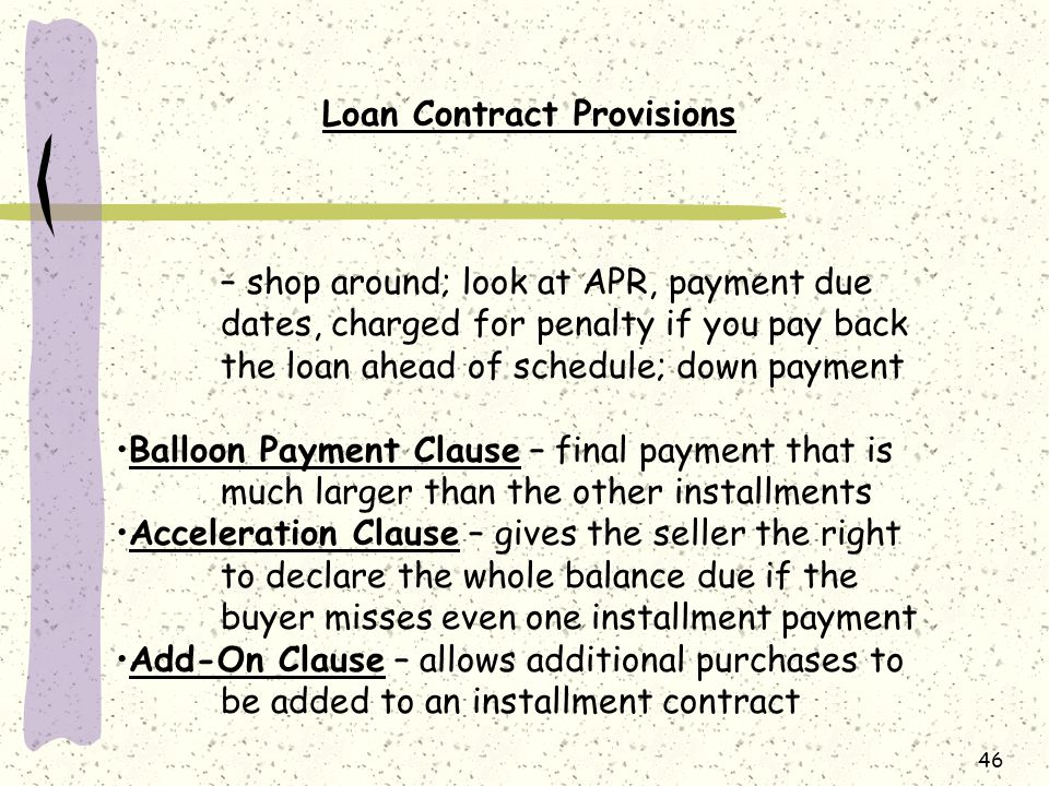 Loan Contract Provisions