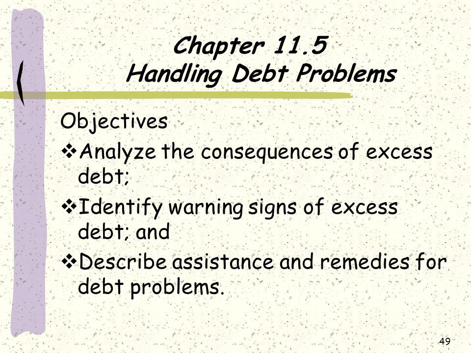 Chapter 11.5 Handling Debt Problems