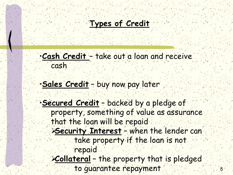 Types of Credit Cash Credit – take out a loan and receive cash. Sales Credit – buy now pay later.