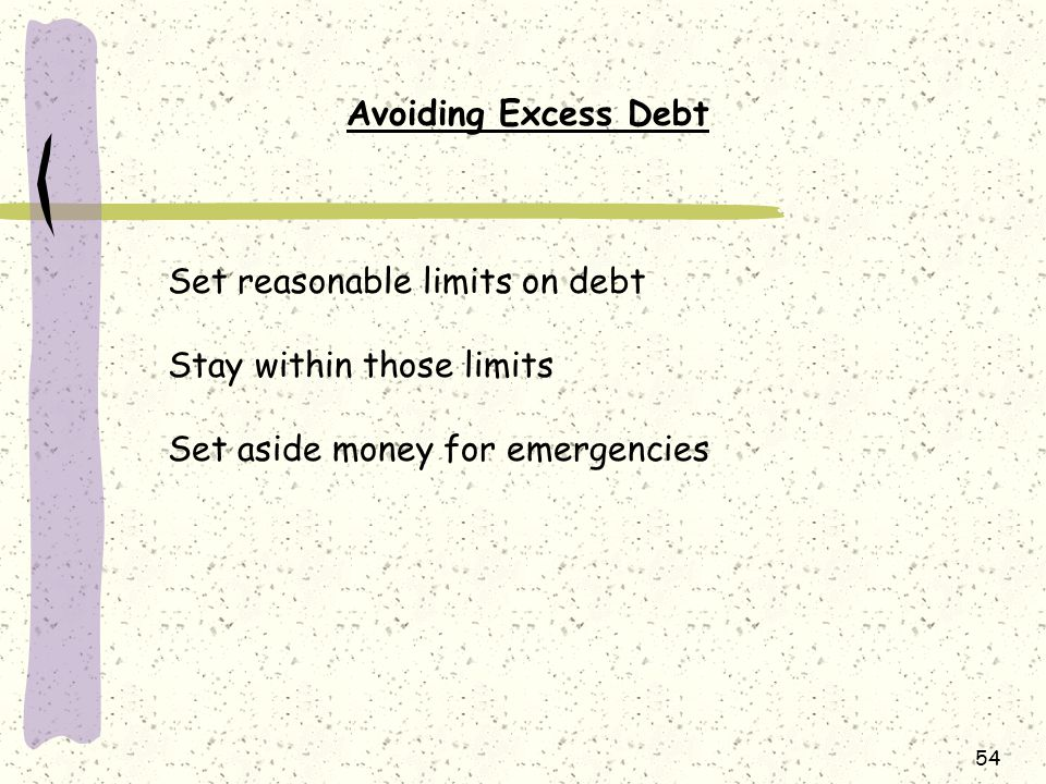 Avoiding Excess Debt Set reasonable limits on debt.