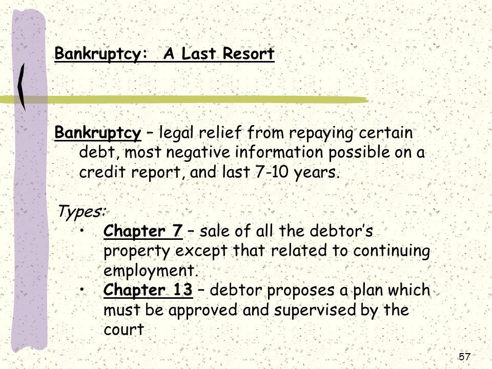 Bankruptcy: A Last Resort