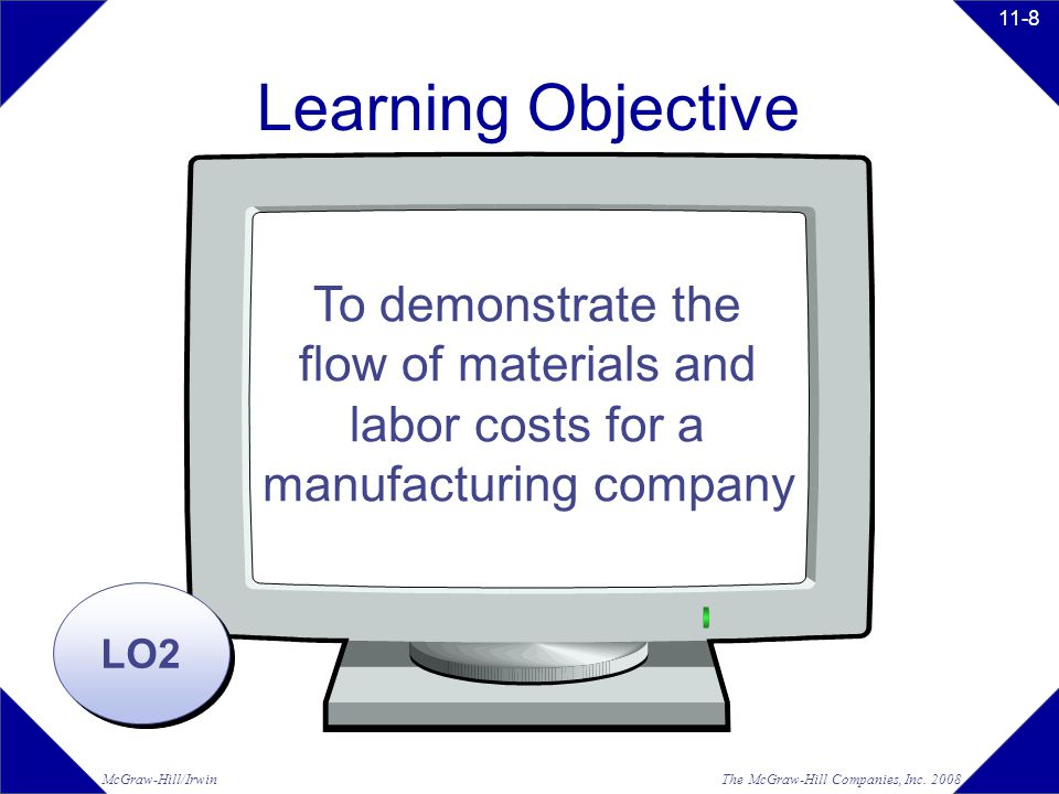Learning Objective To demonstrate the flow of materials and labor costs for a manufacturing company.