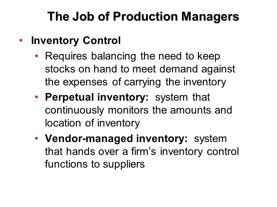 The Job of Production Managers
