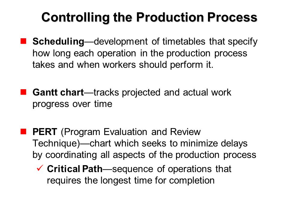 Controlling the Production Process