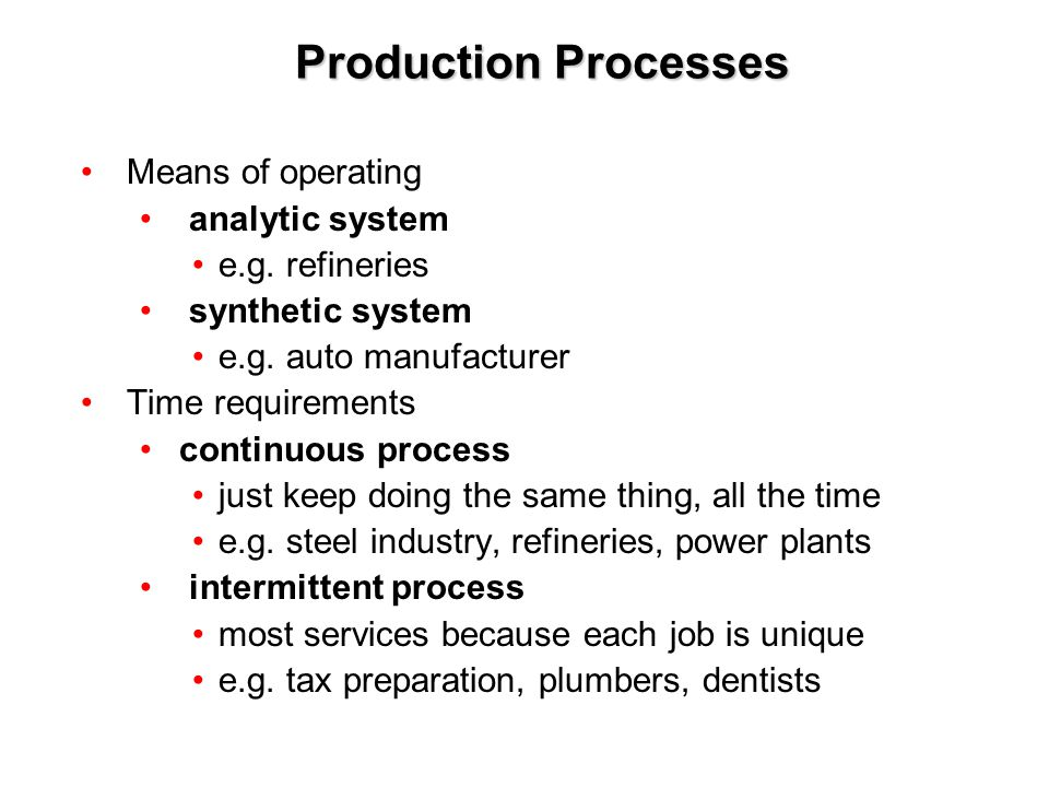 Production Processes Means of operating analytic system