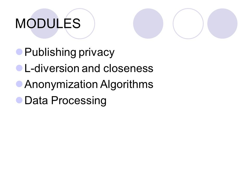 MODULES Publishing privacy L-diversion and closeness