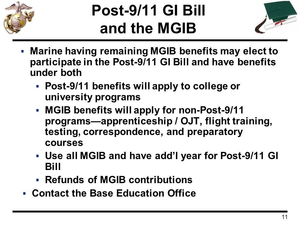 Post-9/11 GI Bill and the MGIB