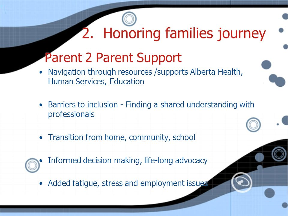 2. Honoring families journey