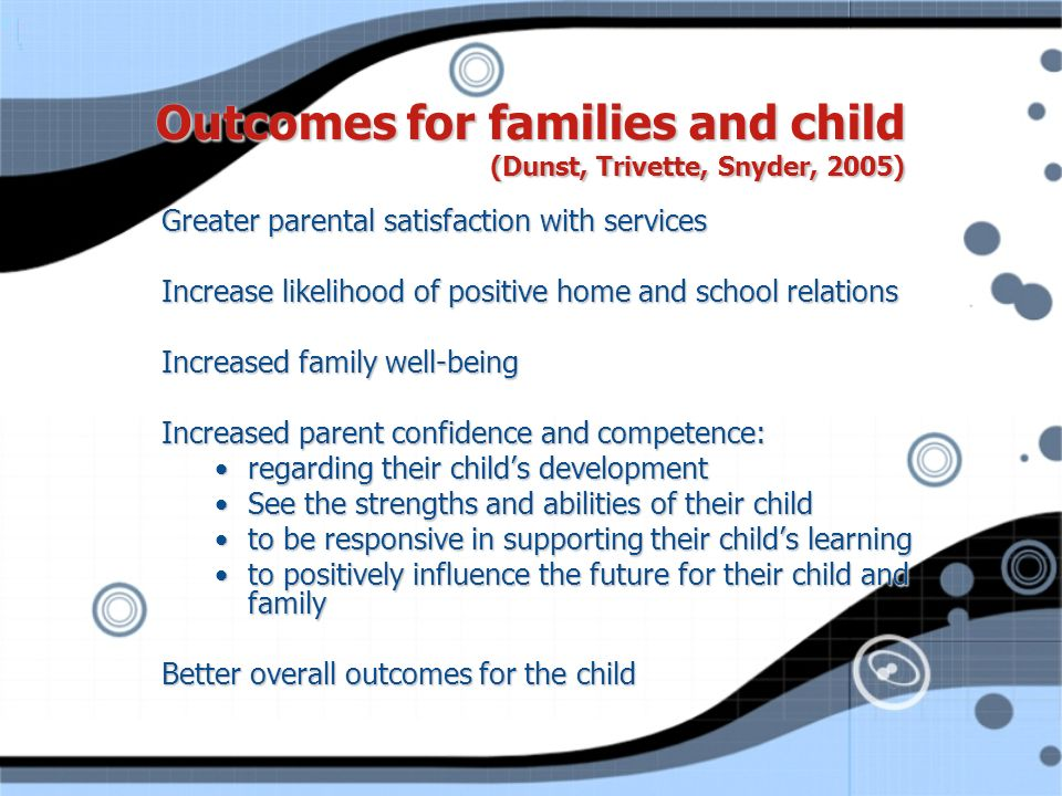 Outcomes for families and child (Dunst, Trivette, Snyder, 2005)