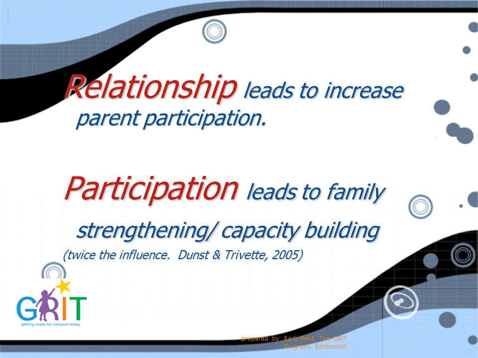 Relationship leads to increase parent participation.
