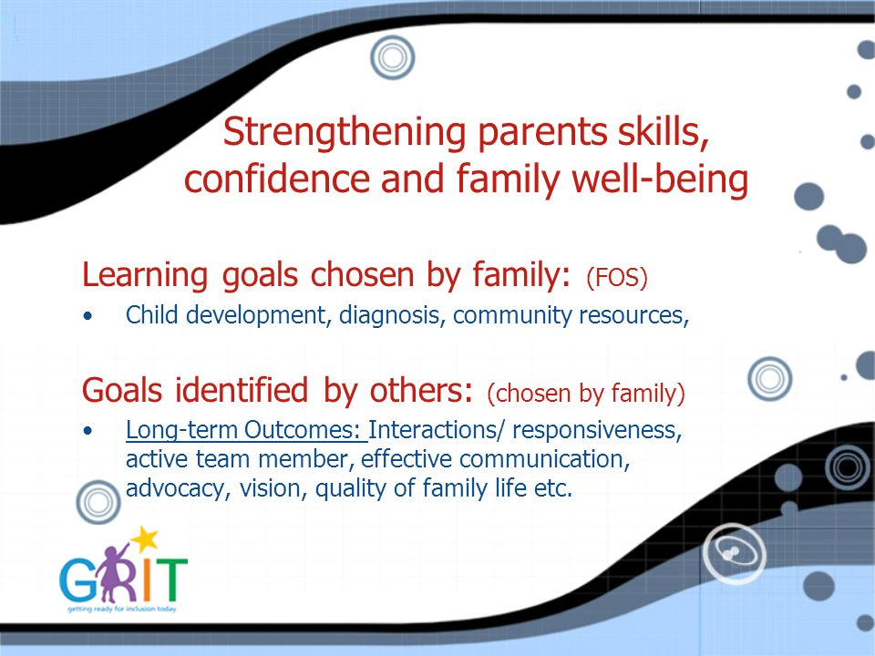 Strengthening parents skills, confidence and family well-being