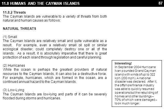 11.8 HUMANS AND THE CAYMAN ISLANDS