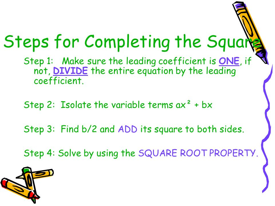 Steps for Completing the Square