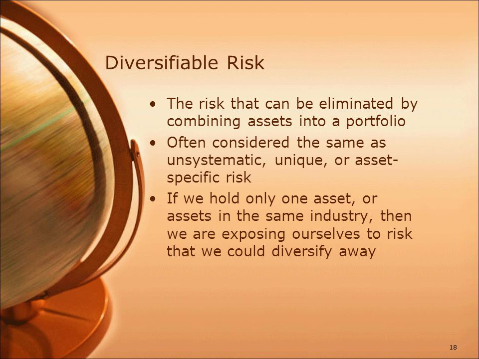 Total Risk Total risk = systematic risk + unsystematic risk