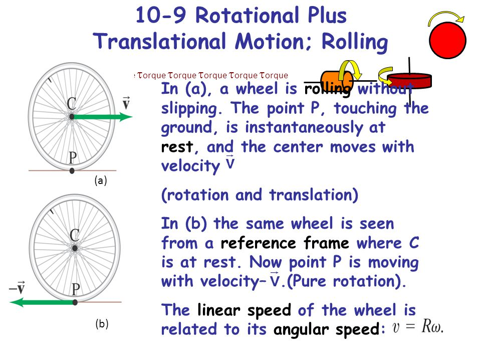 10-9 Rotational Plus Translational Motion; Rolling