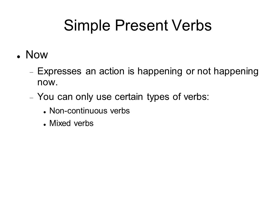 Simple Present Verbs Now