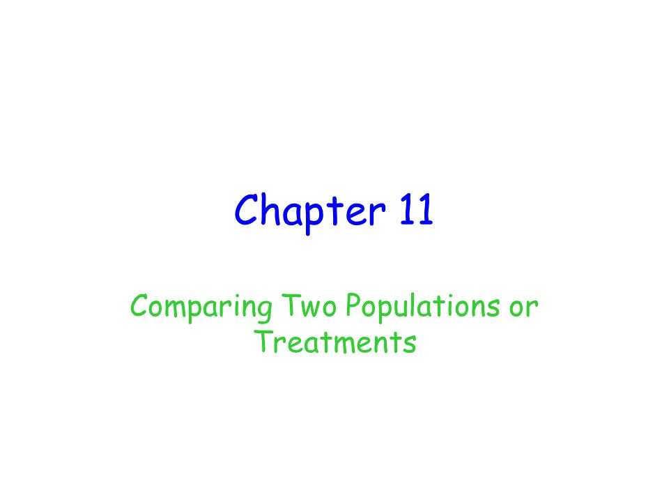 Comparing Two Populations or Treatments