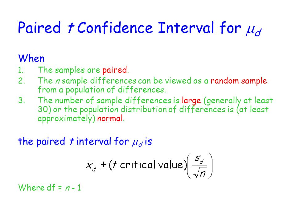 Paired t Confidence Interval for md