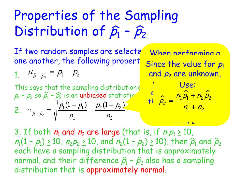Properties of the Sampling Distribution of p1 – p2