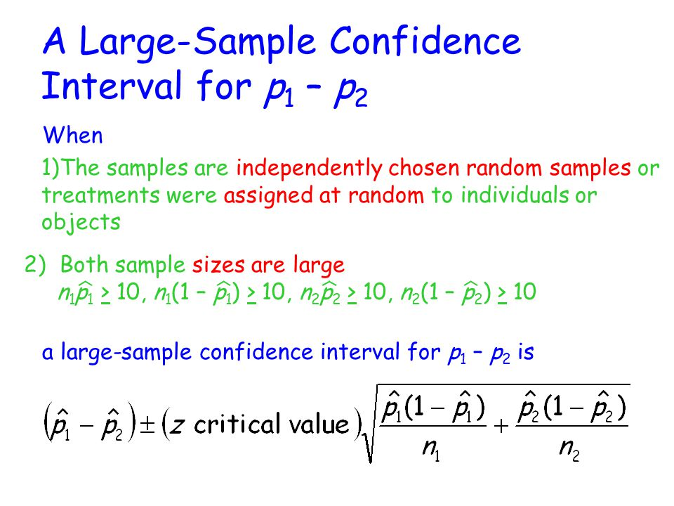 A Large-Sample Confidence Interval for p1 – p2