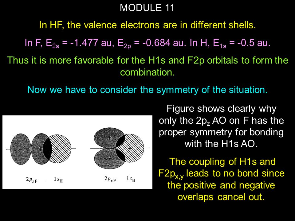 In HF, the valence electrons are in different shells.