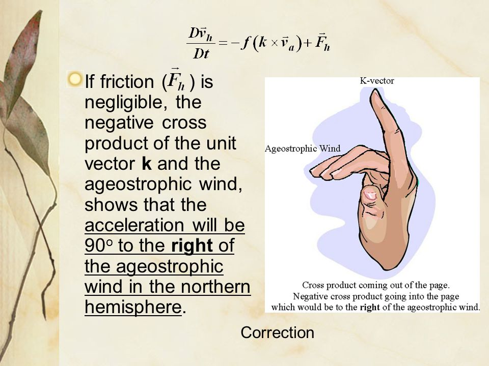 If friction ( ) is negligible, the negative cross product of the unit vector k and the ageostrophic wind, shows that the acceleration will be 90o to the right of the ageostrophic wind in the northern hemisphere.