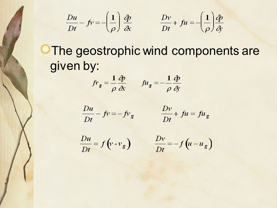 The geostrophic wind components are given by: