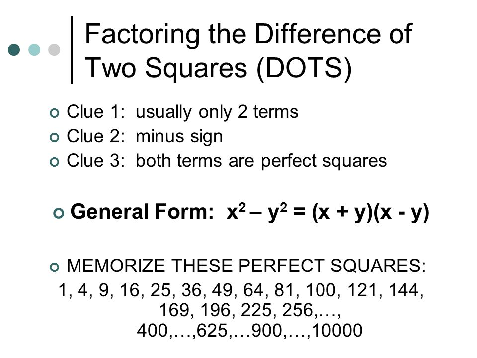 Factoring the Difference of Two Squares (DOTS)