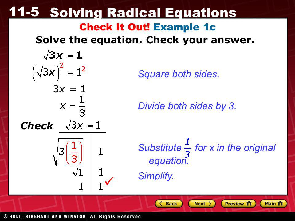  Check It Out! Example 1c Solve the equation. Check your answer.