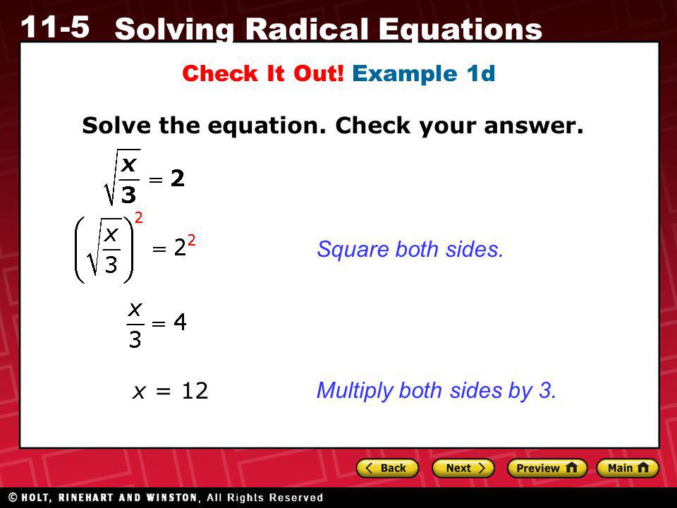 Check It Out. Example 1d Solve the equation. Check your answer.