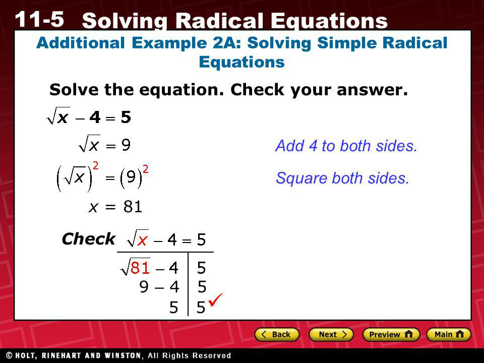 Additional Example 2A: Solving Simple Radical Equations