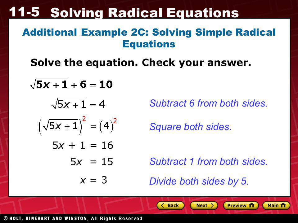 Additional Example 2C: Solving Simple Radical Equations