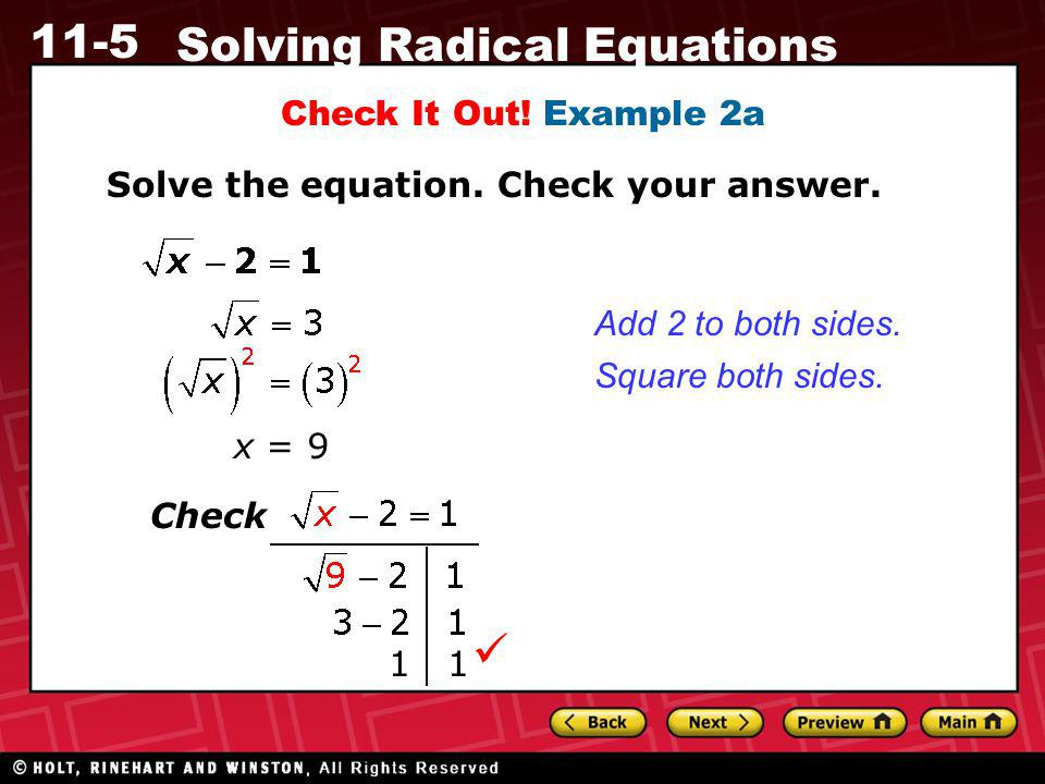  Check It Out! Example 2a Solve the equation. Check your answer.
