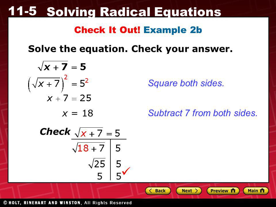  Check It Out! Example 2b Solve the equation. Check your answer.