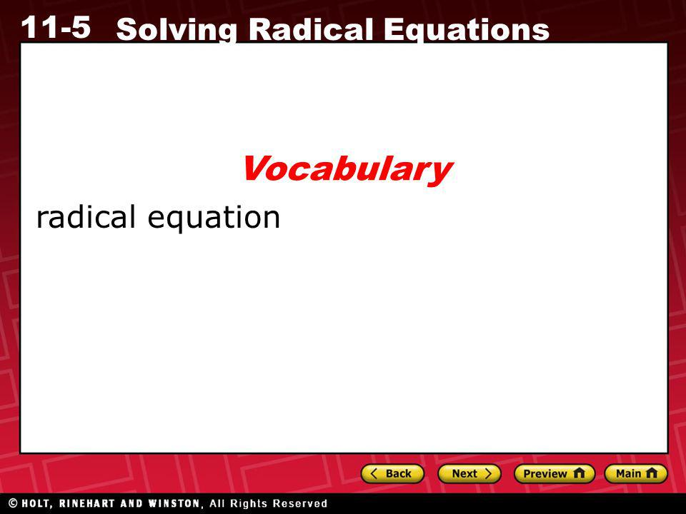 Vocabulary radical equation