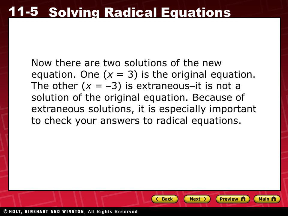 Now there are two solutions of the new equation