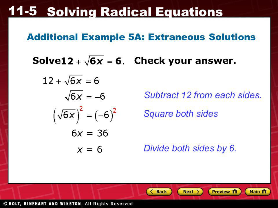 Additional Example 5A: Extraneous Solutions